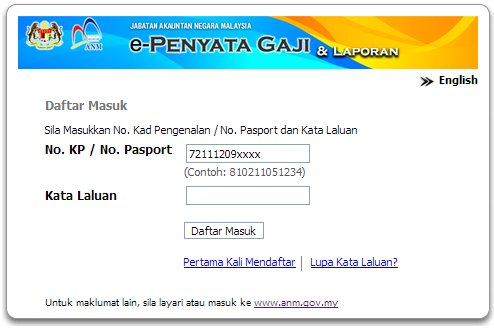 penyata gaji log in